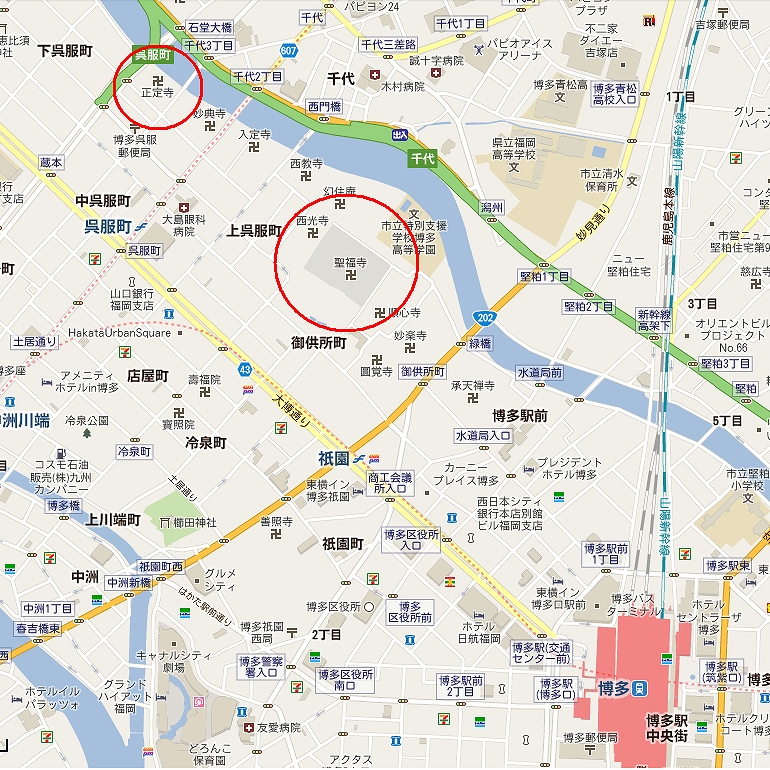 博多八丁兵衛の墓石がある正定寺と仙厓和尚が居た聖福寺へのアクセス